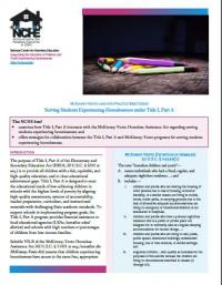 McKinney-Vento Law into Practice Brief Series: Serving Students Experiencing Homelessness under Title I, Part A