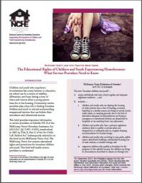 McKinney-Vento Law into Practice Brief Series: The Educational Rights of Children and Youth Experiencing Homelessness: What Service Providers Need to Know