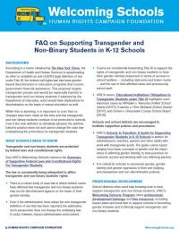 FAQ on Supporting Transgender and Non-Binary Students in K-12 Schools