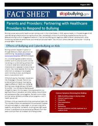 Fact Sheet:  Parents and Providers: Partnering with Healthcare Providers to Respond to Bullying