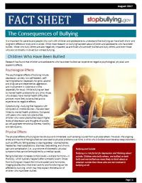 The Consequence of Bullying Fact Sheet