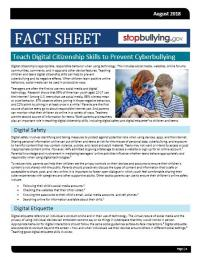Teach Digital Citizenship Skills to Prevent Cyberbullying Fact Sheet