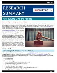 Anti-Bullying Laws and Policies