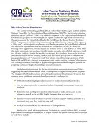 Urban Teacher Residency Models and Institutes of Higher Education