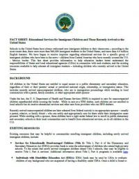 Fact Sheet: Educational Services for Immigrant Children and those Recently Arrived to the United States