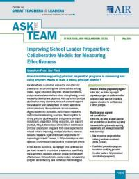Improving School Leader Preparation: Collaborative Models for Measuring Effectiveness