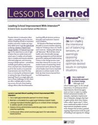 Leading School Improvement with In-tension