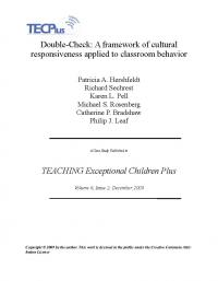 Double-check: A framework of cultural responsiveness applied to classroom behavior