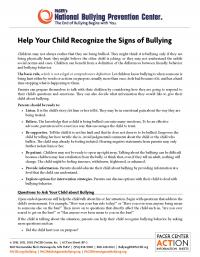 Help your child recognize the signs of bullying