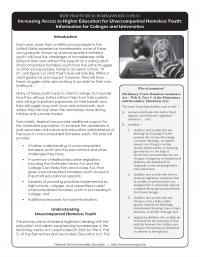 Best Practices in Homeless Education: Increasing Access to Higher Education for Unaccompanied Homeless Youth: Information for Colleges and Universities