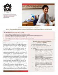 Best Practices in Homeless Education Brief Series: Local Homeless Education Liaisons: Important Information for New Local Liaisons