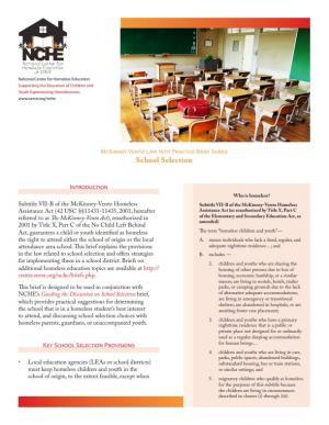 McKinney-Vento Law into Practice Brief Series: School Selection