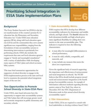 This issue brief summarizes opportunities for supporters of school diversity to engage in the ESSA implementation process at the