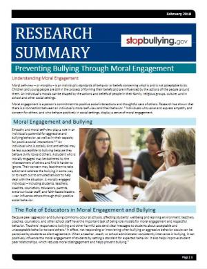 Preventing BullyingThrough Moral Engagement
