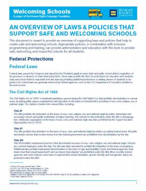AN OVERVIEW OF LAWS & POLICIES THAT SUPPORT SAFE AND WELCOMING SCHOOLS