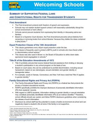 SUMMARY OF SUPPORTIVE FEDERAL LAWS AND CONSTITUTIONAL RIGHTS FOR TRANSGENDER STUDENTS