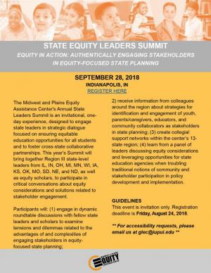 2018 State Equity Leaders Summit: Equity in Action: Authentically Engaging Stakeholders in Equity-Focused State Planning