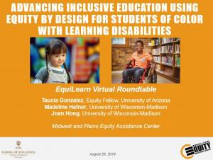 Advancing Inclusive Education Using Equity by Design for Students of Color with Learning Disabilities