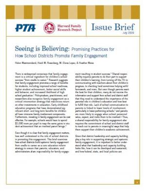 Seeing is Believing: Promising Practices for How School Districts Promote Family Engagement