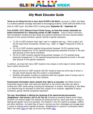 picture of first page of ally week guide