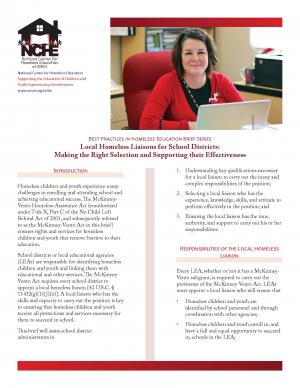 Best Practices in Homeless Education Brief Series: Local Homeless Liaisons for School Districts: Making the Right Selection and Supporting their Effectiveness