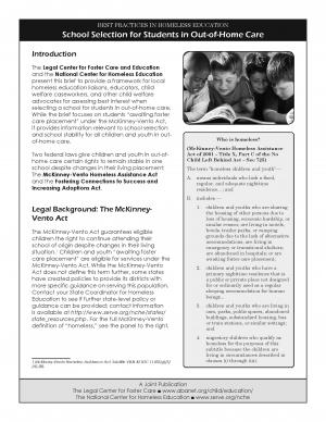 Best Practices in Homeless Education: School Selection for Students in Out-of-Home Care